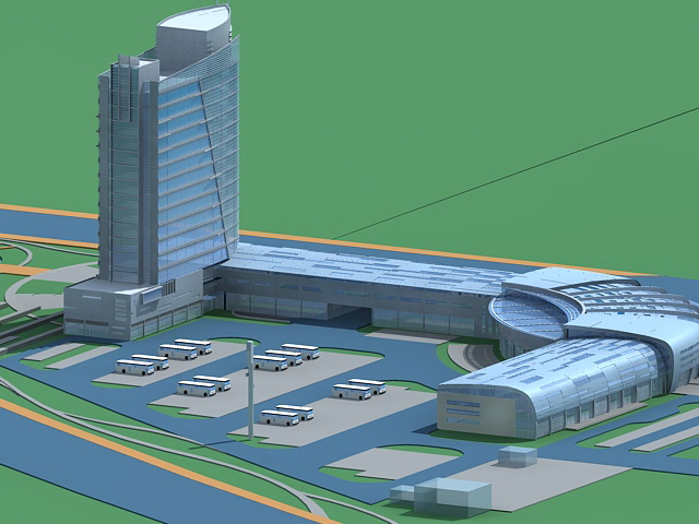 Commercial District with Parking 3d rendering