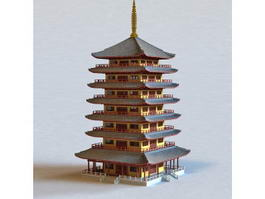 Japanese Pagoda 3d model preview
