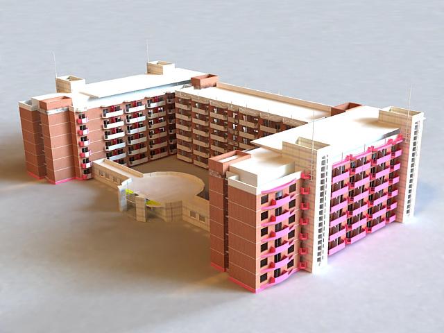 Modern Primary School Buildings 3d rendering