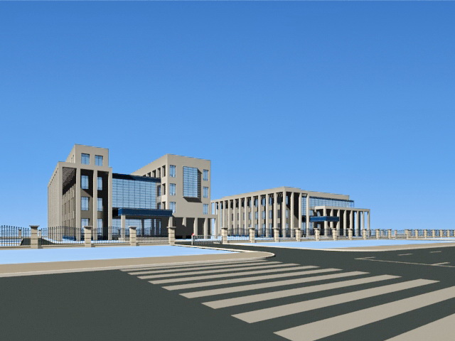 Suburban Office Park 3d rendering