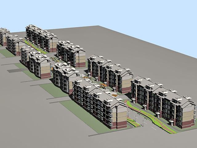 Residential Street 3d rendering