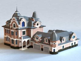 Traditional Russian House with Garage 3d model preview