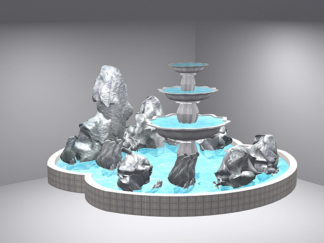 Fountain with Rockery 3d rendering