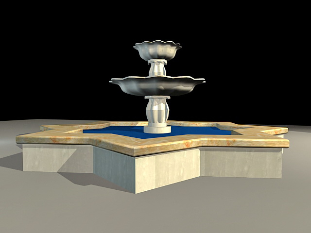 Courtyard Fountain 3d rendering