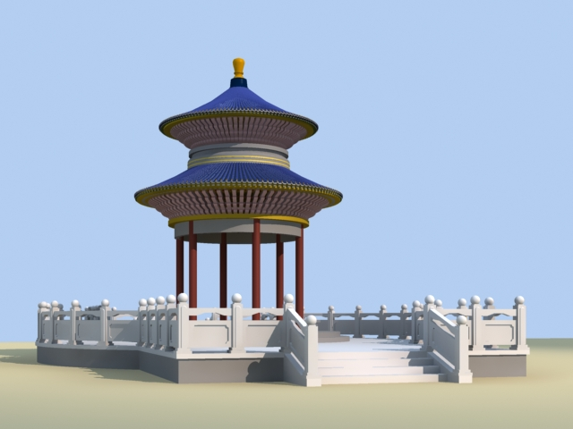 Chinese Round Pavilion 3d rendering