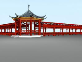 Traditional Chinese Pavilion and Corridor 3d preview