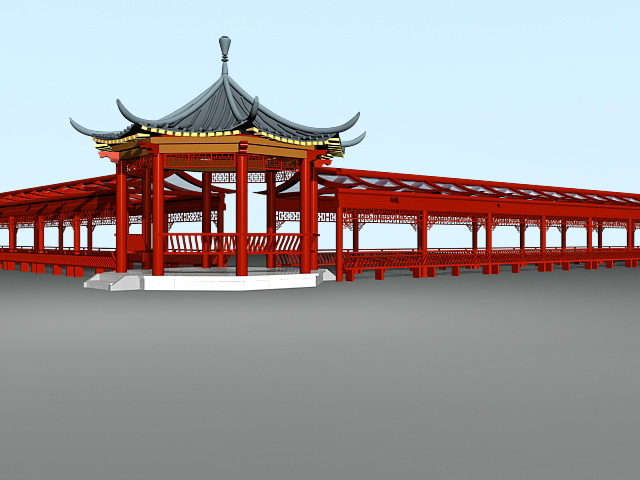 Traditional Chinese Pavilion and Corridor 3d rendering