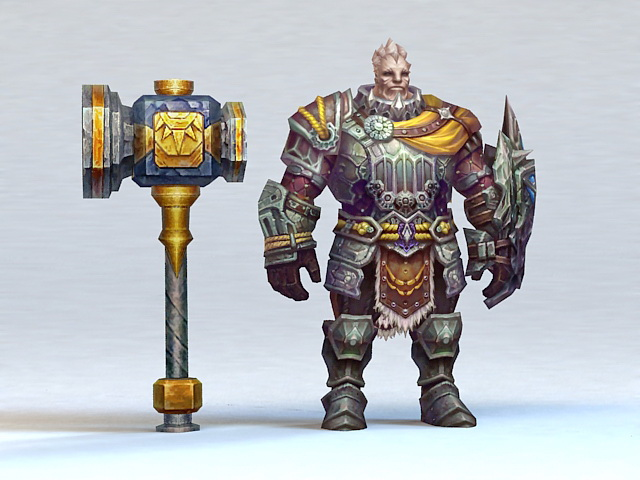 Old Paladin with Hammer 3d rendering