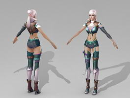 Beautiful Anime Female Warrior 3d model preview