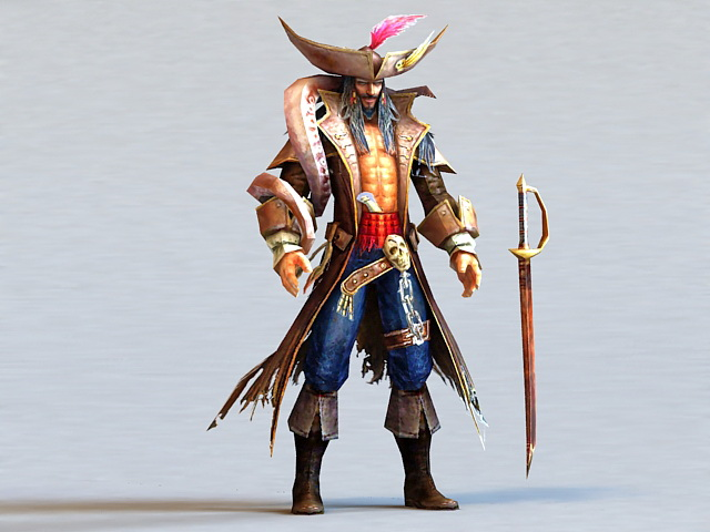 Male Pirate Captain 3d rendering