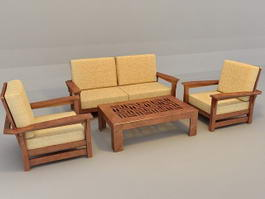 Traditional Sofa Set with Wood Trim 3d preview