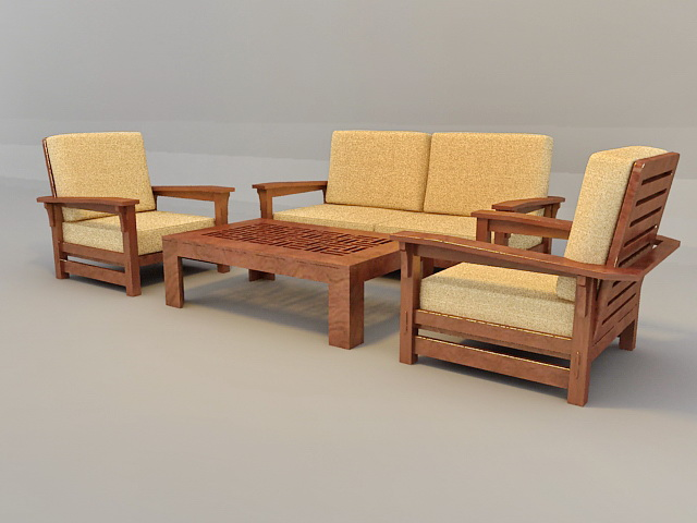 Traditional Sofa Set with Wood Trim 3d rendering