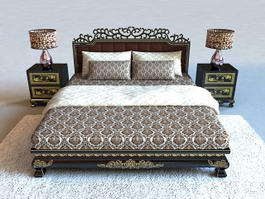 Classic Luxury Wood Bed 3d preview