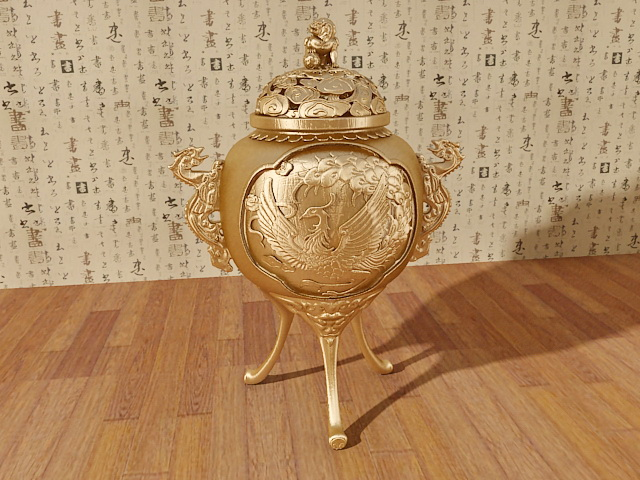 Brass Incense Burner 3d rendering