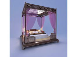 Chinese Canopy Bed 3d preview