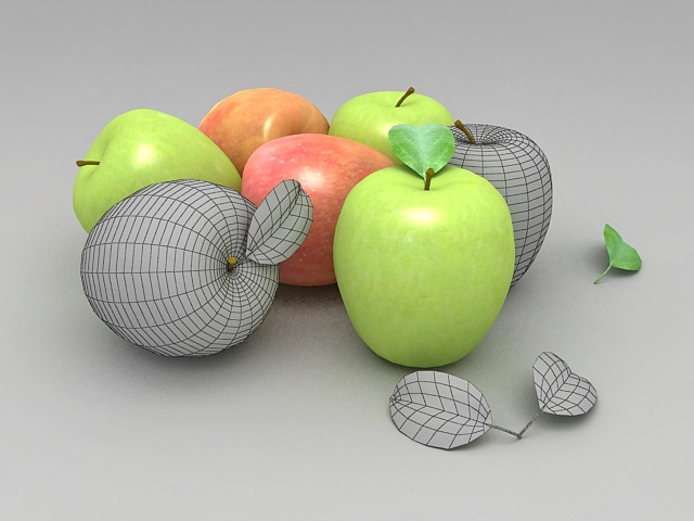 Green and Red Fresh Apples 3d rendering