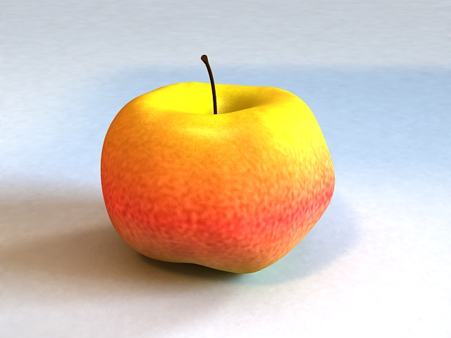 Red and Yellow Apple 3d rendering