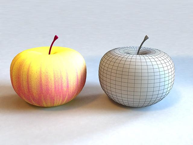 Yellow Apple 3d rendering
