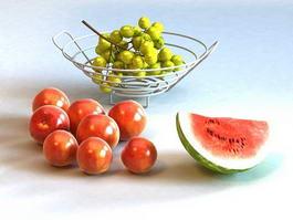 Grapes Watermelon Peaches Basket 3d preview