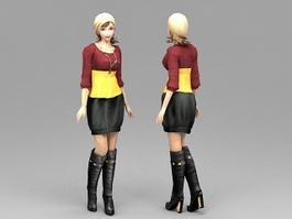 Fashion School Girl 3d model preview