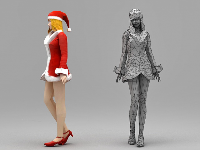 Merry Christmas Girl 3d rendering