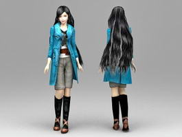 Autumn Outfits Girl 3d model preview