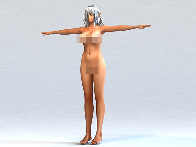 Anime Elf Girl Body 3d rendering