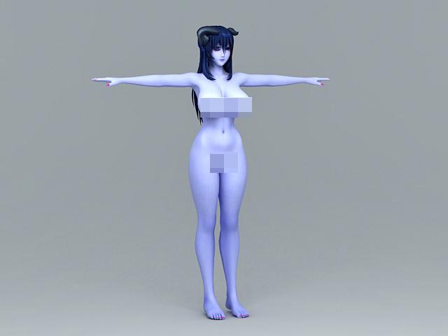 Naked Devil Girl 3d rendering