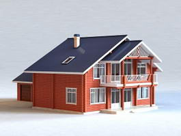Country House with Detached Garage 3d preview