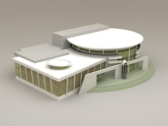 Modern Library Exterior 3d rendering