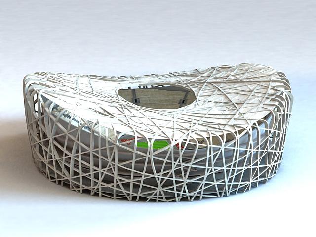 Birds Nest Olympic Stadium 3d rendering