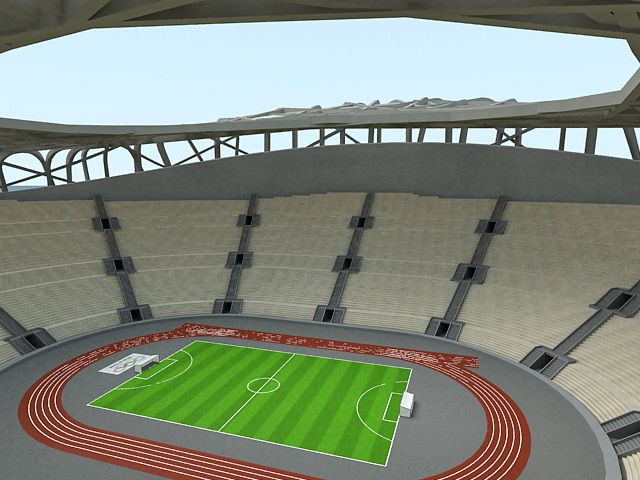 Birds Nest Olympic Stadium 3d rendering