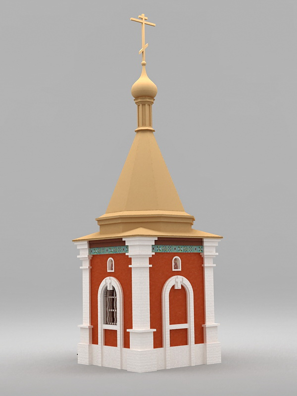 Small Country Church 3d rendering