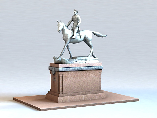 Statue of Marshal Georgy Zhukov 3d rendering