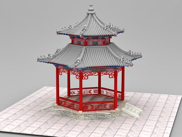 Ancient Pavilion Chinese Traditional Architecture 3d rendering
