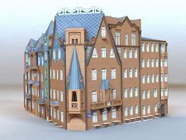 Corner Apartment Building 3d model preview