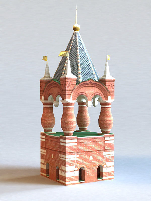 Moscow Russia Kremlin Tower 3d rendering