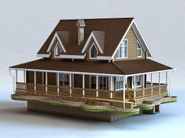 Ranch House with Basement 3d preview