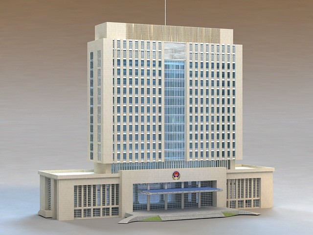 Chinese Police Headquarter 3d rendering