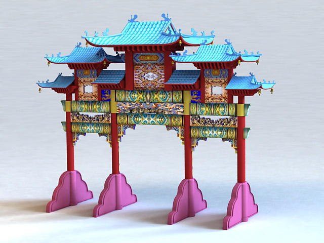 Ancient Chinese Archways 3d rendering