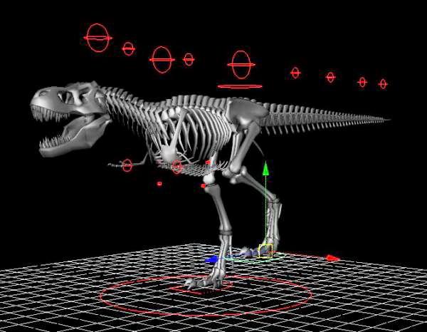 Skeletal Tyrannosaurus Rex Rigged 3d rendering