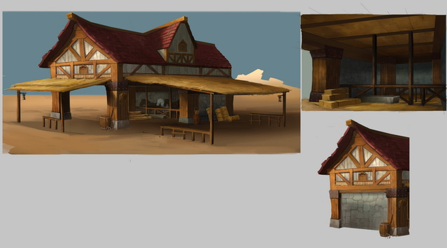 Ancient Horse Stable 3d rendering