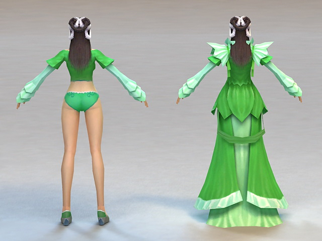 Ancient Chinese Beauty Woman 3d rendering