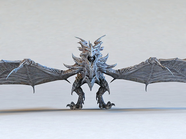 Metal Dragon Rigged 3d rendering