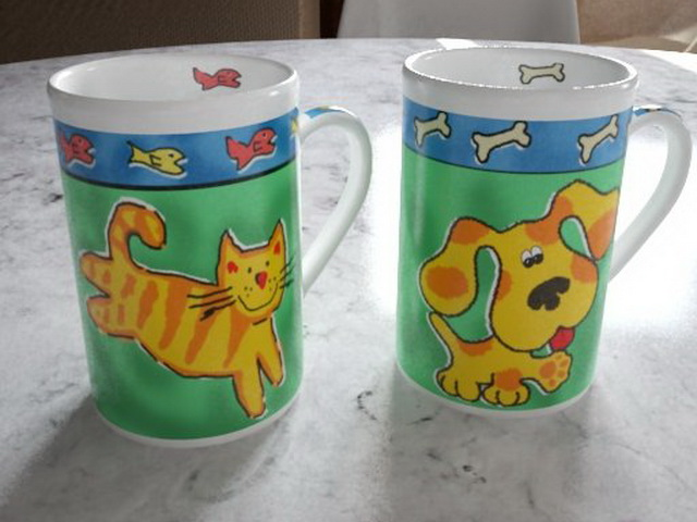 Kitty and Doggy Cups 3d rendering