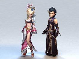 Medieval Anime Warrior Couple 3d preview