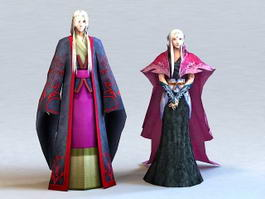 Medieval Asian Couple 3d preview