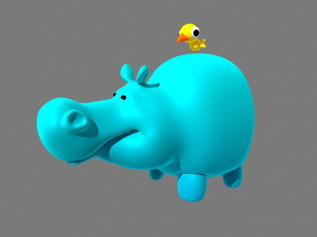 Hippo and Bird Cartoon 3d rendering