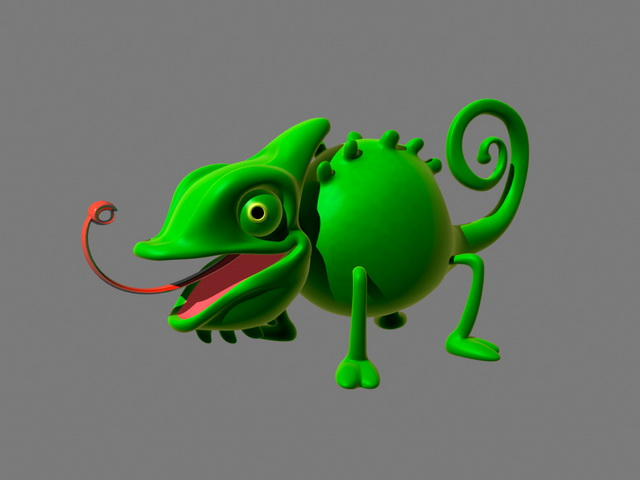 Cartoon Chameleon Rigged 3d rendering