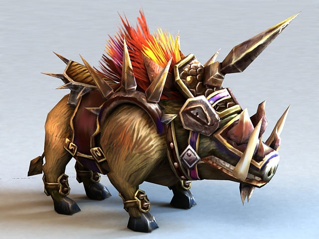 Armored Boar 3d rendering